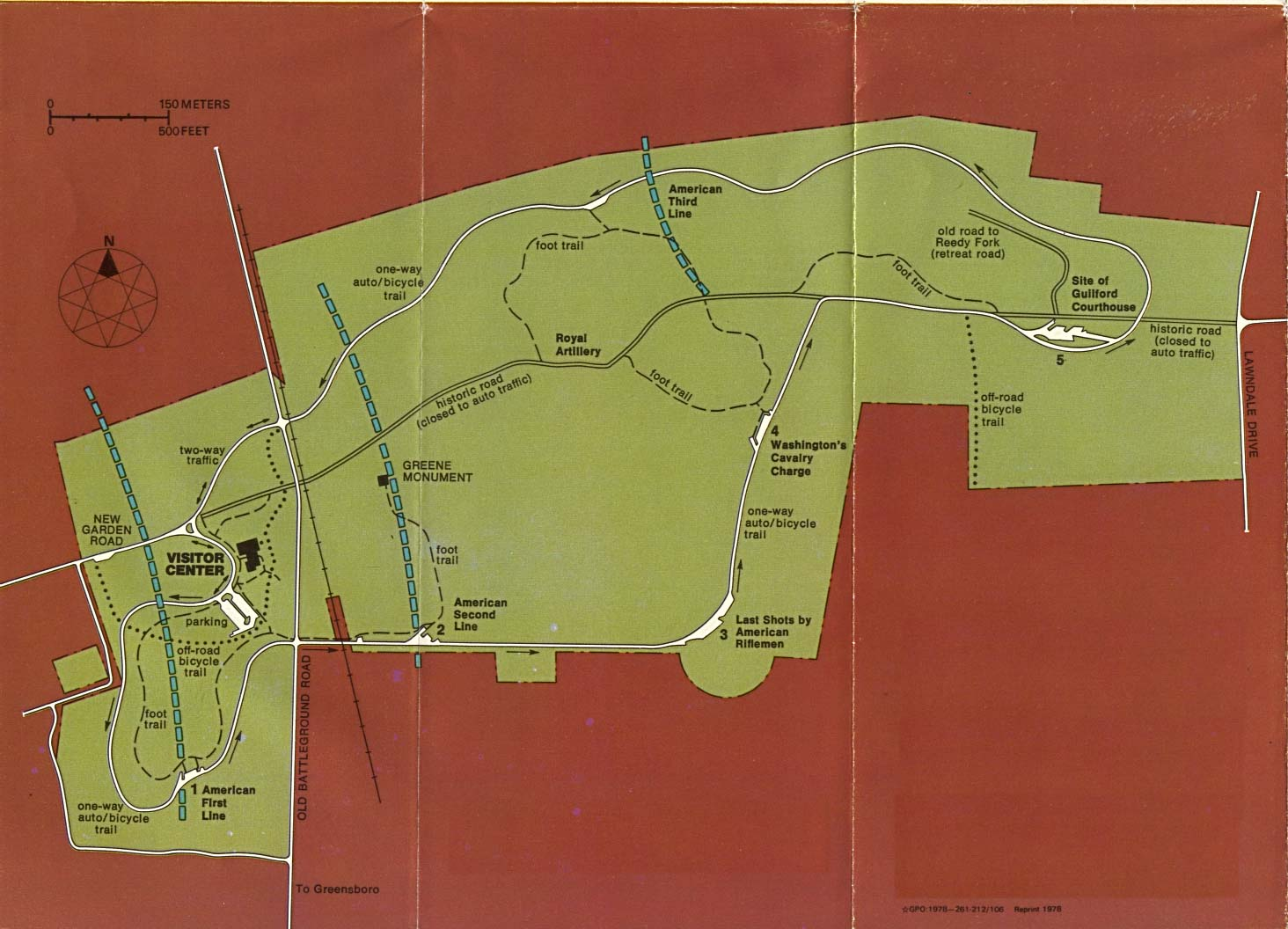 Maps of United States National Parks, Monuments and Historic Sites Guilford Courthouse National Military Park [North Carolina] (Park Map) (165K)