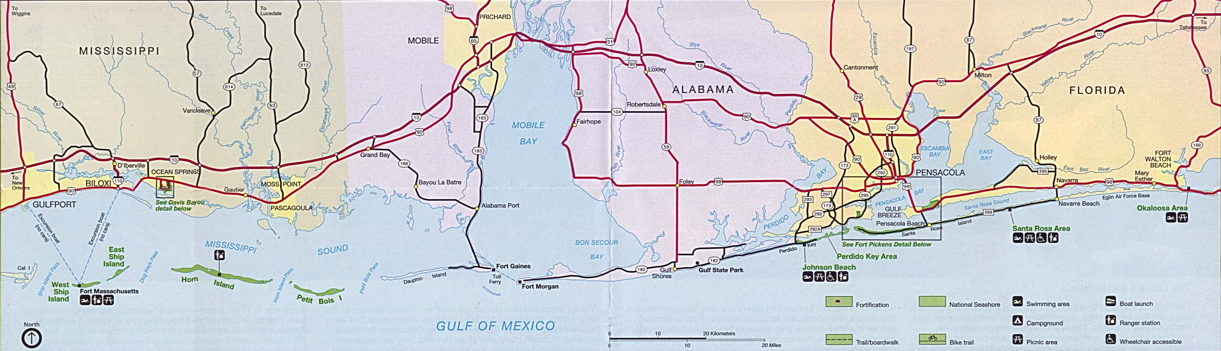 Maps of United States National Parks, Monuments and Historic Sites Gulf of Mexico [Mississippi / Alabama / Florida] (Area Features) 1994 (351K)