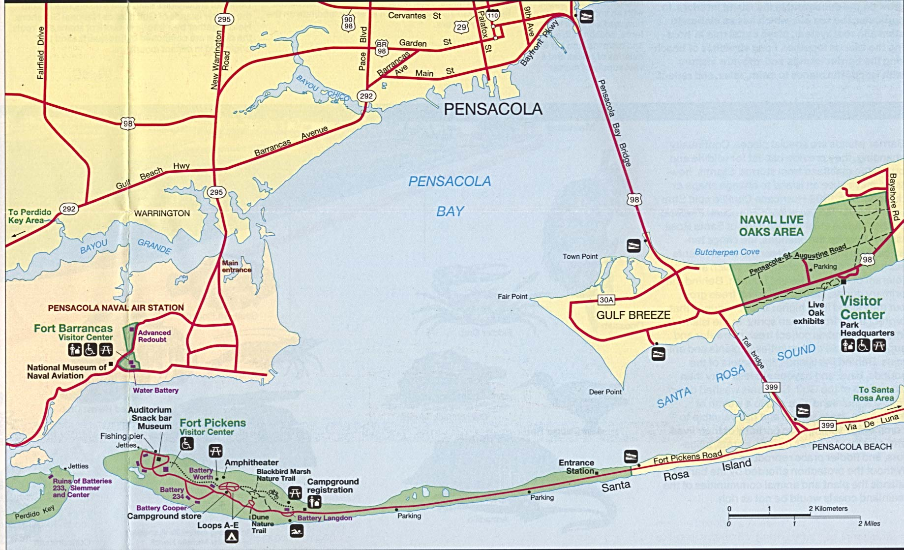 pensacola bay (area features) . map of florida a source for all kinds of maps of florida