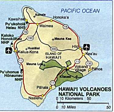Maps of United States National Parks, Monuments and Historic Sites Hawaii Volcanoes National Park [Hawaii] (Area Map) (46K)