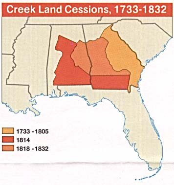 Maps of United States National Parks, Monuments and Historic Sites Horseshoe Bend National Military Park [Alabama] (Creek Land Cessions 1733-1832 Map) (23K)