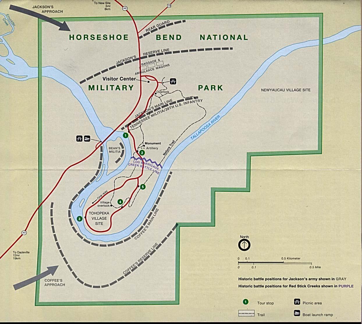 Maps of United States National Parks, Monuments and Historic Sites Horseshoe Bend National Military Park [Alabama] (Park Map) (230K)