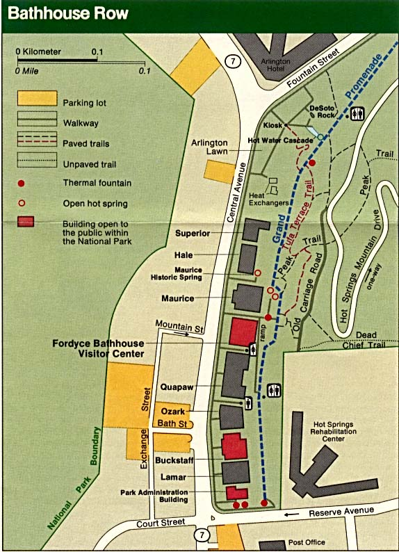 Maps of United States National Parks, Monuments and Historic Sites Hot Springs National Park [Arkansas] (Bathhouse Row Map) (110K)