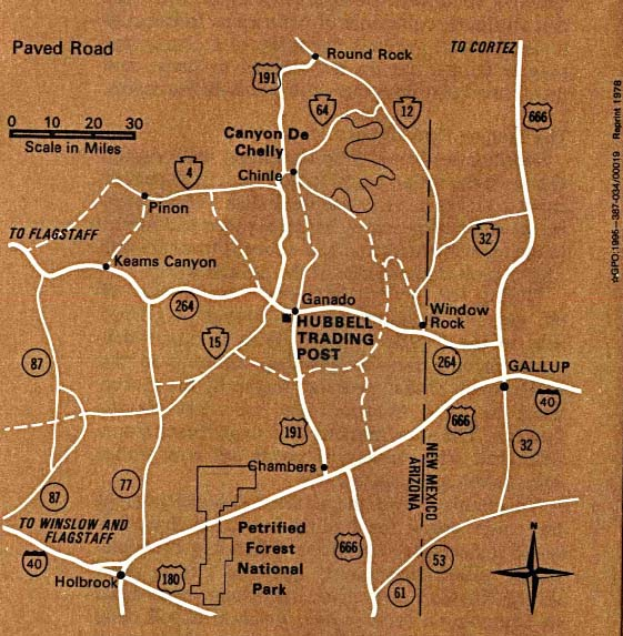 Maps of United States National Parks, Monuments and Historic Sites Hubbell Trading Post National Historic Site [Arizona] (Area Map) 1995 (111K)
