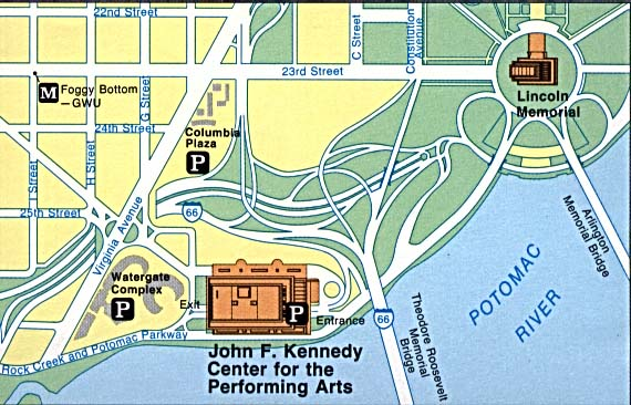 Maps of United States National Parks, Monuments and Historic Sites John F. Kennedy Center for the Performing Arts [Washington,DC] (Area Map) (68K)