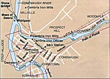 Maps of United States National Parks, Monuments and Historic Sites Johnstown Flood National Memorial [Pennsylvania] (Flood Path Map) (32K)