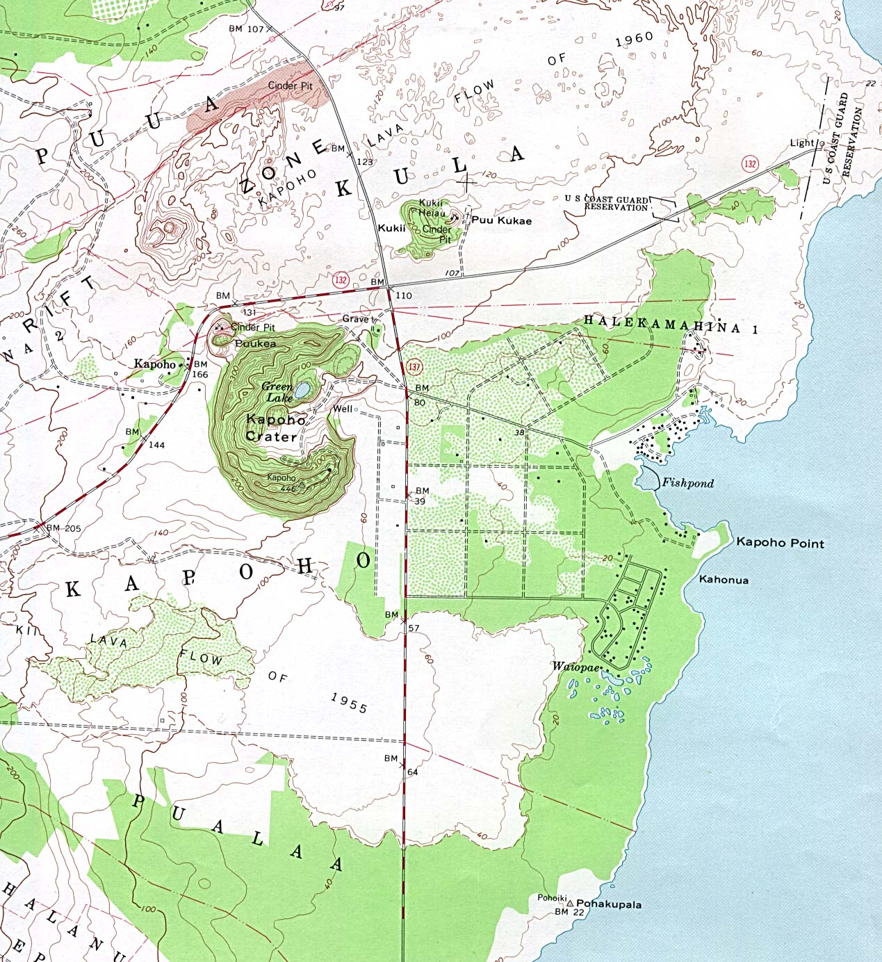 Maps of United States National Parks, Monuments and Historic Sites Kapoho Crater [Hawaii] Scale 1:24,000 U.S.G.S. [Topographic Map] 1981 (408K)