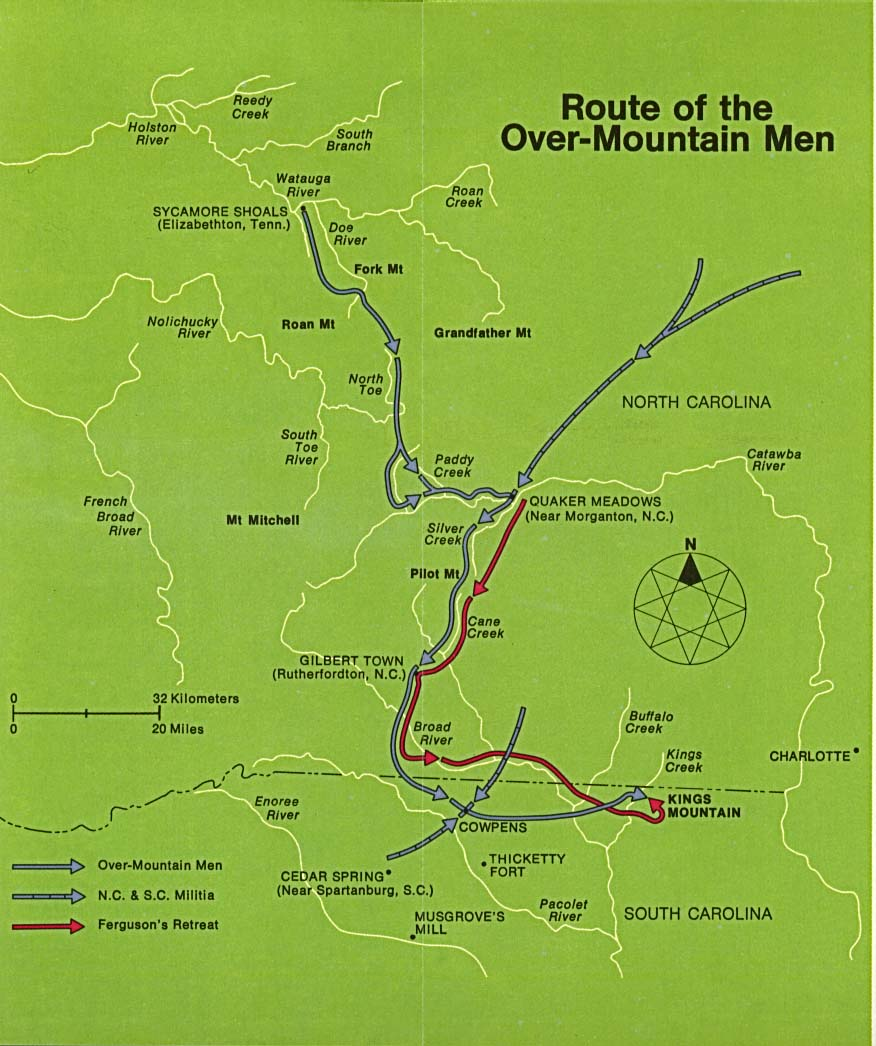 Maps of United States National Parks, Monuments and Historic Sites Kings Mountain National Military Park [North Carolina] (Route of the Over-Mountain men) (119K)
