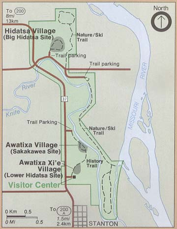Maps of United States National Parks, Monuments and Historic Sites Knife River Indian Villages National Historic Site [North Dakota] (Park Map) 2000 (34K)