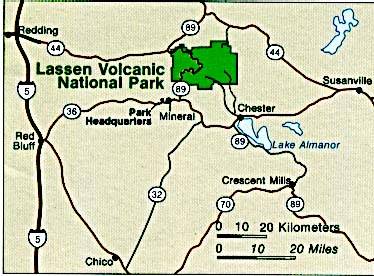 Maps of United States National Parks, Monuments and Historic Sites Lassen Volcanic National Park [California] (Area Map) (36K)