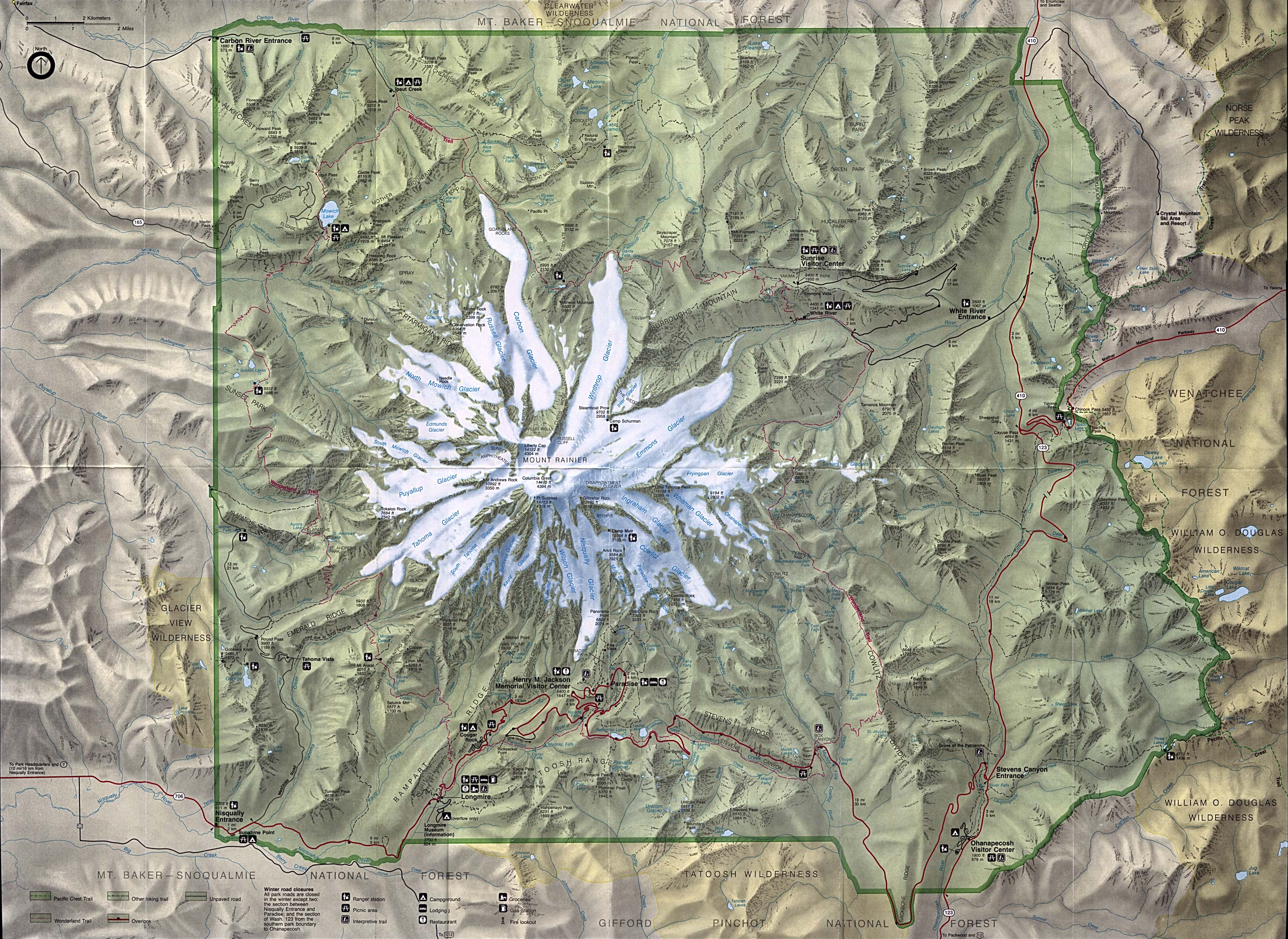 Maps of United States National Parks, Monuments and Historic Sites Mount Rainier National Park [Washington] (Park Map) (1.8MB)