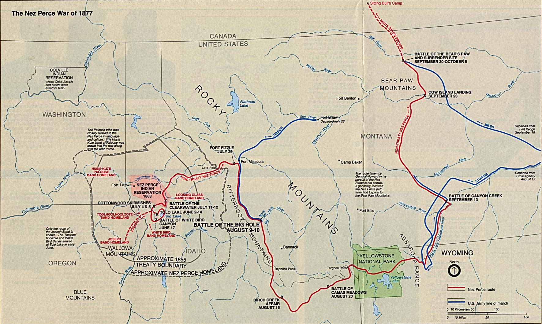 Maps of United States National Parks, Monuments and Historic Sites Big Hole National Battlefield - The Nez Perce War of 1877 [Montana] (Area Map) 1994 (402K)