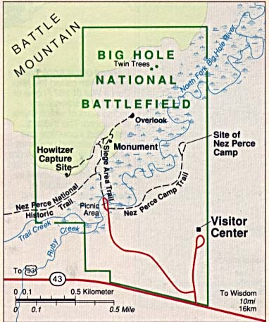 Maps of United States National Parks, Monuments and Historic Sites Big Hole National Battlefield [Montana] (Park Map) 1994 (47K)