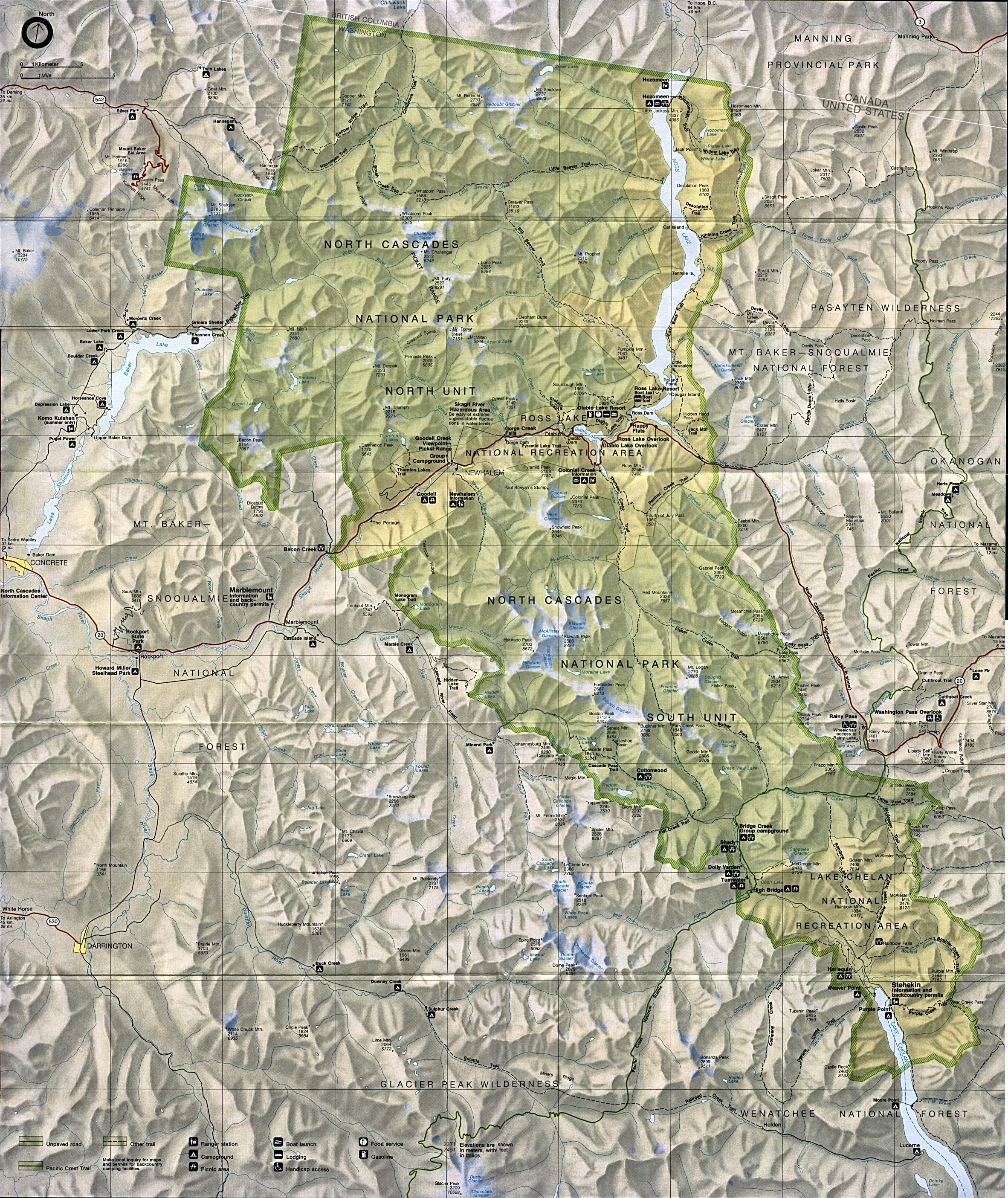 Maps of United States National Parks, Monuments and Historic Sites North Cascades National Park [Washington] (Park Map) (1MB)