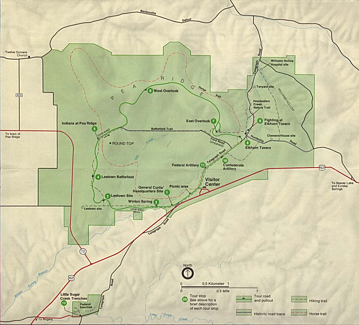 Maps of United States National Parks, Monuments and Historic Sites Pea Ridge National Military Park [Arkansas] (Park Map) (223K)
