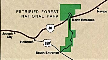 Maps of United States National Parks, Monuments and Historic Sites Petrified Forest National Park [Arizona] (Area Map) (16K)