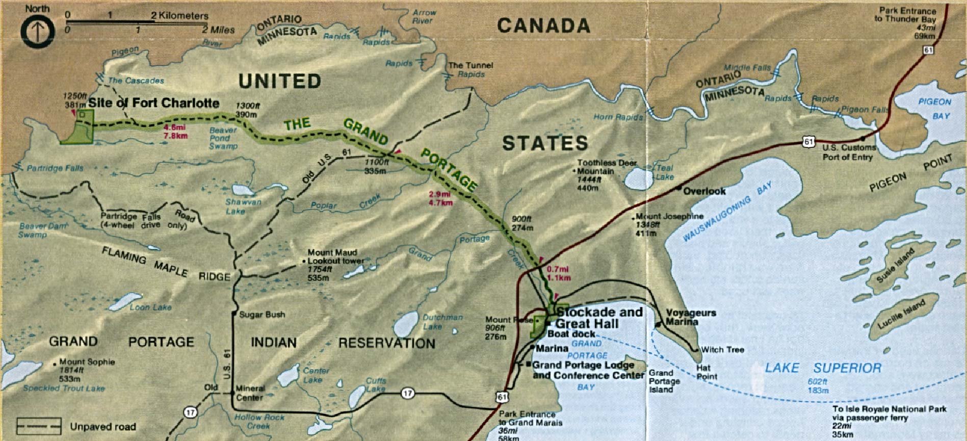 Maps of United States National Parks, Monuments and Historic Sites Grand Portage National Monument [Minnesota] (Area Map) 1994 (269K)