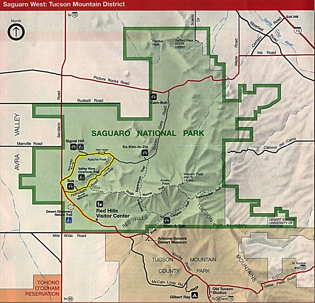 Maps of United States National Parks, Monuments and Historic Sites Saguaro National Park (West: Tucson Mountain District) [Arizona] (Park Map) 1996 (349K)