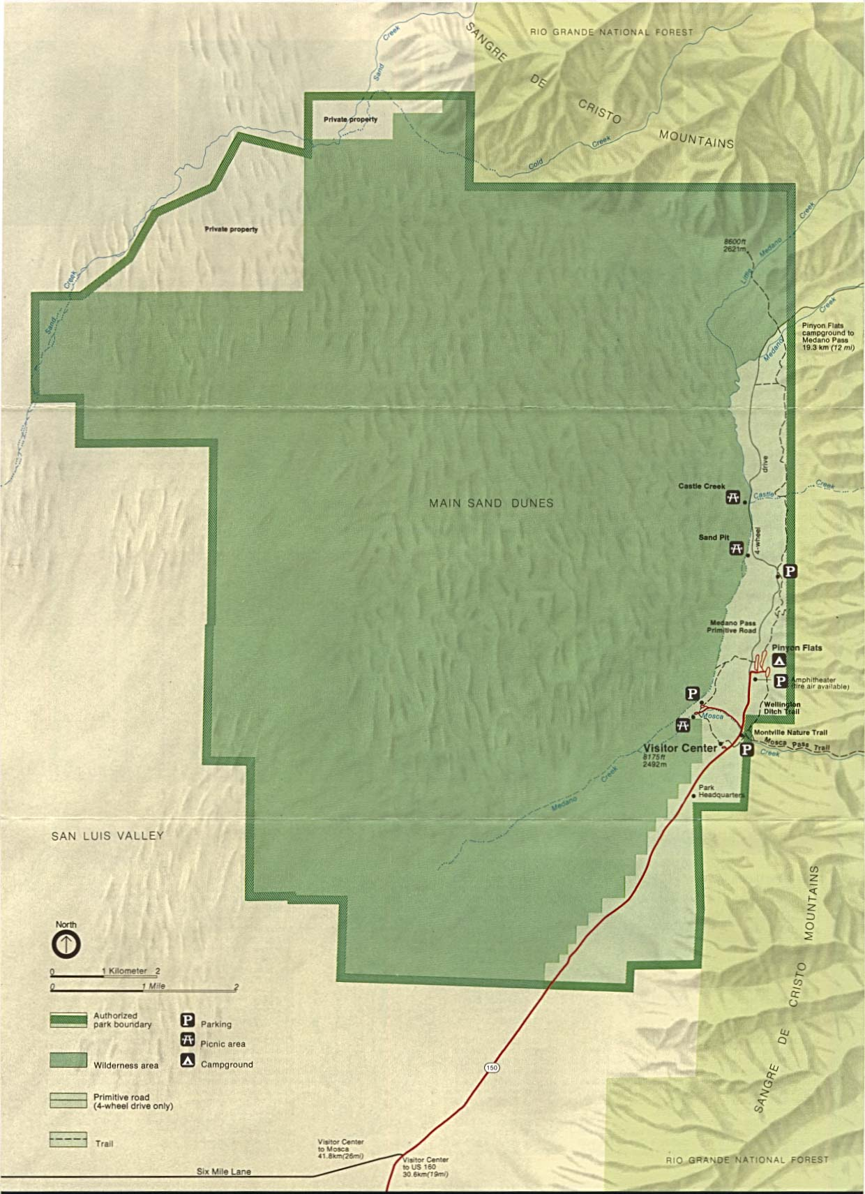 Maps of United States National Parks, Monuments and Historic Sites Great Sand Dunes National Monument [Colorado] (Park Map / Shaded Relief) 1994 (254K)