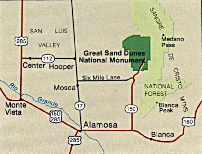 Maps of United States National Parks, Monuments and Historic Sites Great Sand Dunes National Monument [Colorado] (Area Map) 1994 (77K)