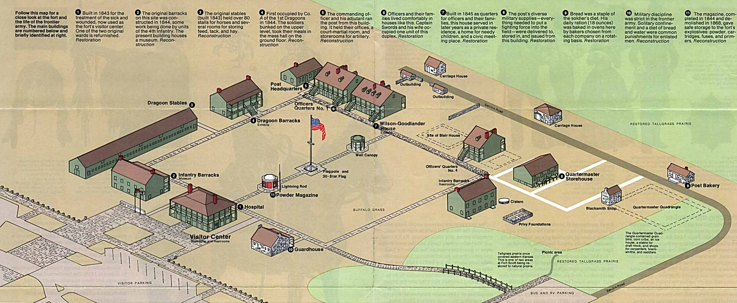Maps of United States National Parks, Monuments and Historic Sites Fort Scott National Historic Site [Kansas] (Schematic) 1993 (390K)