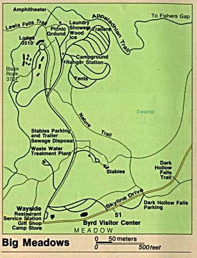Maps of United States National Parks, Monuments and Historic Sites Shenandoah National Park - Big Meadows [Virginia] (Detail Map) (51K)