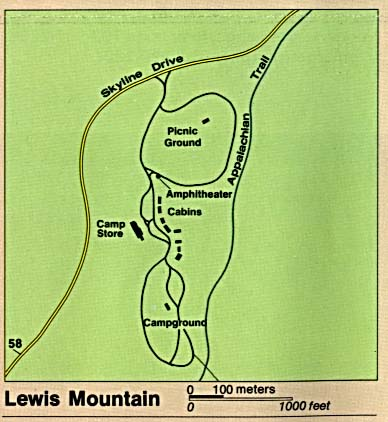 Maps of United States National Parks, Monuments and Historic Sites Shenandoah National Park - Lewis Mountain [Virginia] (Detail Map) (30K)