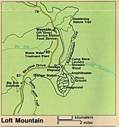 Maps of United States National Parks, Monuments and Historic Sites Shenandoah National Park - Loft Mountain [Virginia] (Detail Map) (36K)