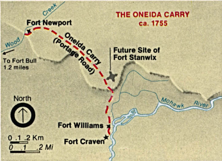 Maps of United States National Parks, Monuments and Historic Sites Fort Stanwix National Monument - The Oneida Carry 1755 [New York] (Detail Map) 1995 (468K)