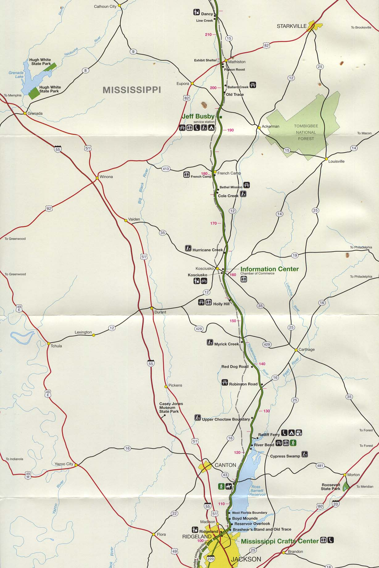 Maps of United States National Parks, Monuments and Historic Sites Natchez Trace Parkway National Scenic Trail [Mississippi, Alabama, and Tennessee] (Jackson to Dancy, Mississippi) 1997 (323K)
