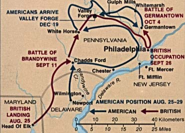 Maps of United States National Parks, Monuments and Historic Sites Valley Forge National Historical Park [Pennsylvania] (Battle Map) (31K)
