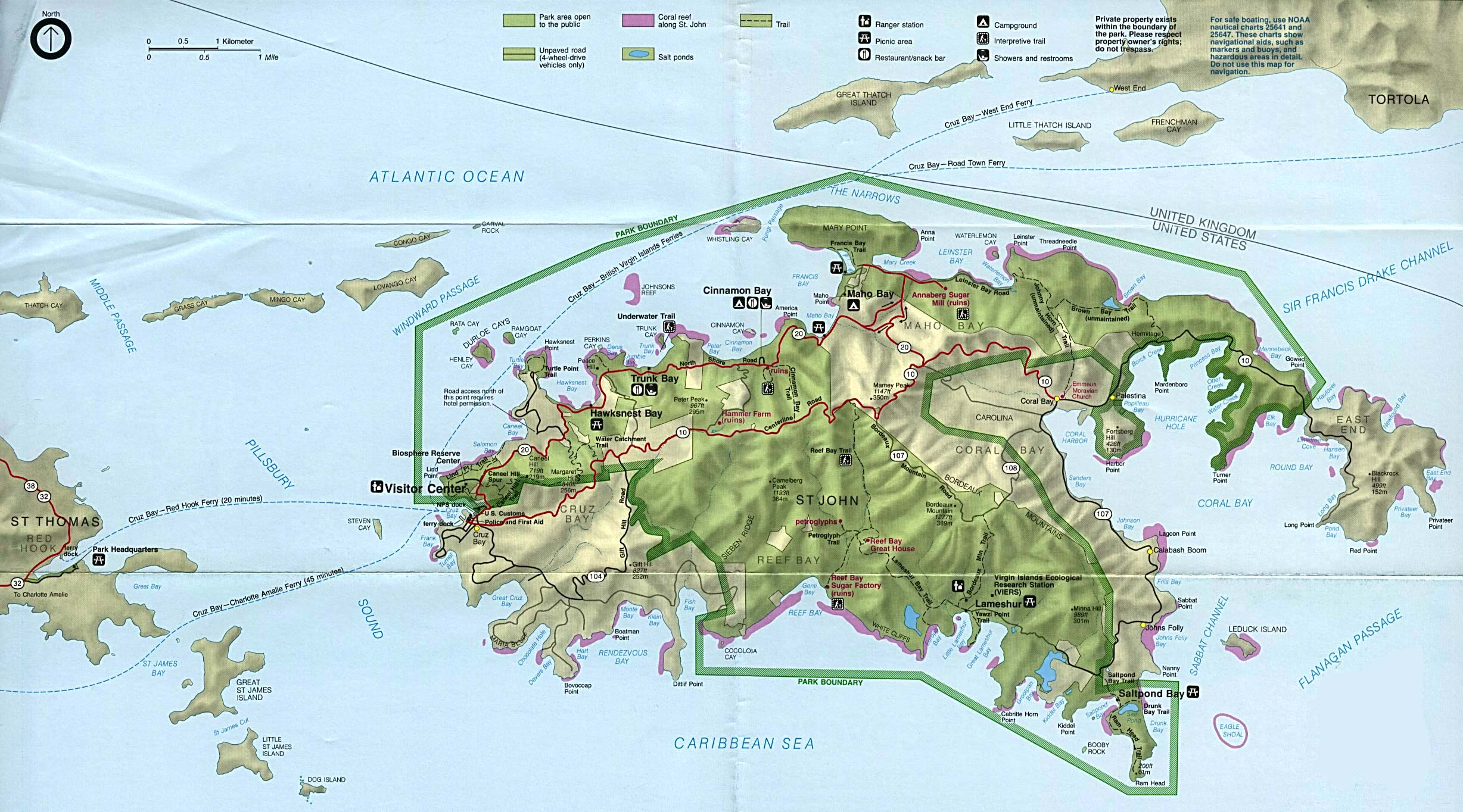 virgin islands national park park map