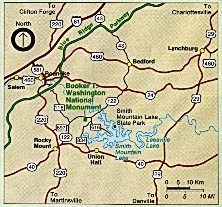 Maps of United States National Parks, Monuments and Historic Sites Booker T. Washington National Monument [Virginia] (Area Map) 1995 (201K)