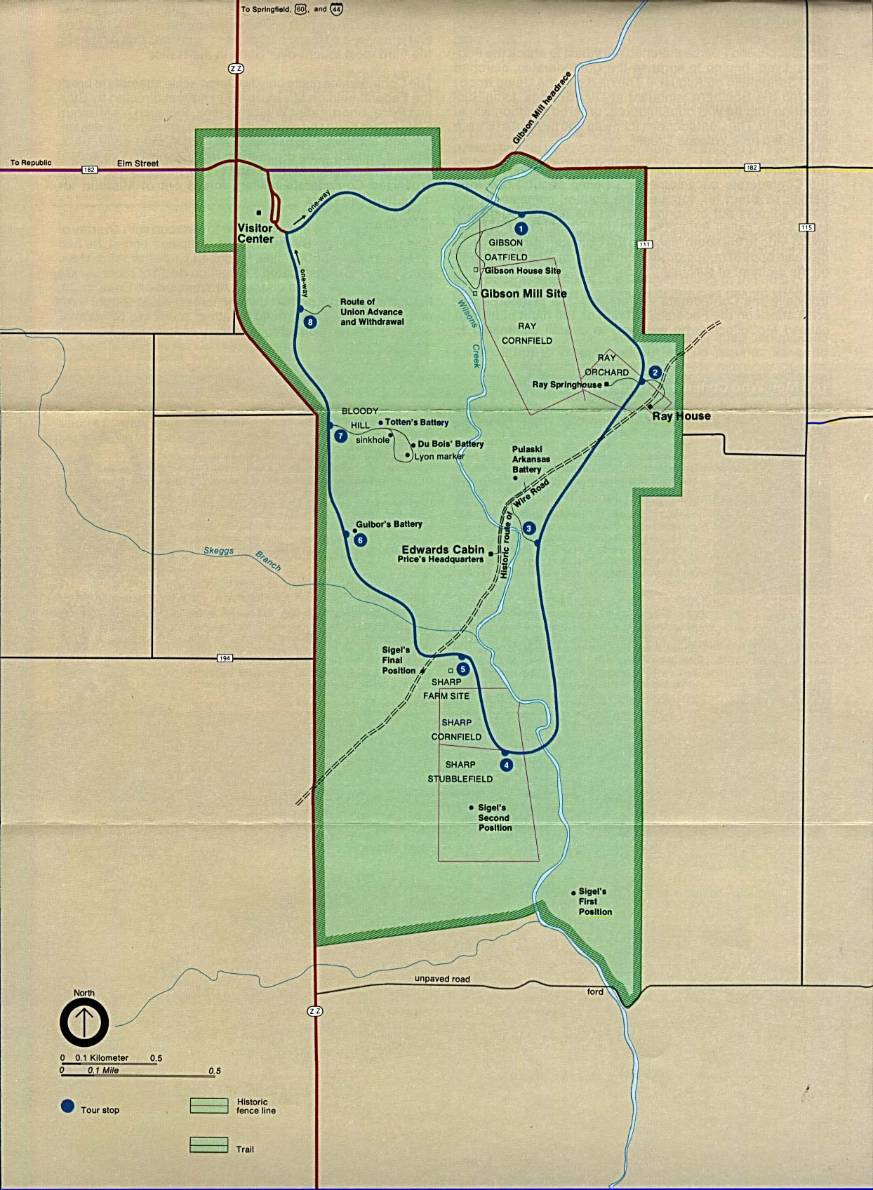 Maps of United States National Parks, Monuments and Historic Sites Wilson's Creek National Battlefield [Missouri] (Park Map) (290K)