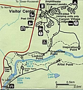 Maps of United States National Parks, Monuments and Historic Sites Yellowstone National Park - Canyon Village [Wyoming / Montana / Idaho] (Detail Map) (39K)