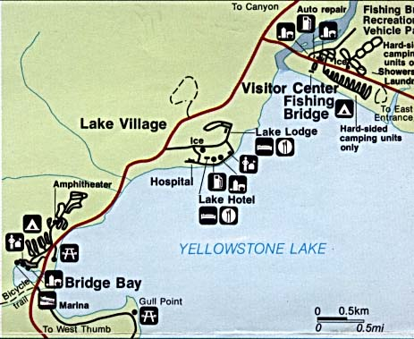 Maps of United States National Parks, Monuments and Historic Sites Yellowstone National Park - Fishing Bridge, Lake Village and Bridge Bay [Wyoming / Montana / Idaho] (Detail Map) (43K)