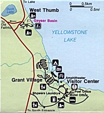 Maps of United States National Parks, Monuments and Historic Sites Yellowstone National Park - West Thumb and Grant Village [Wyoming / Montana / Idaho] (Detail Map) (31K)