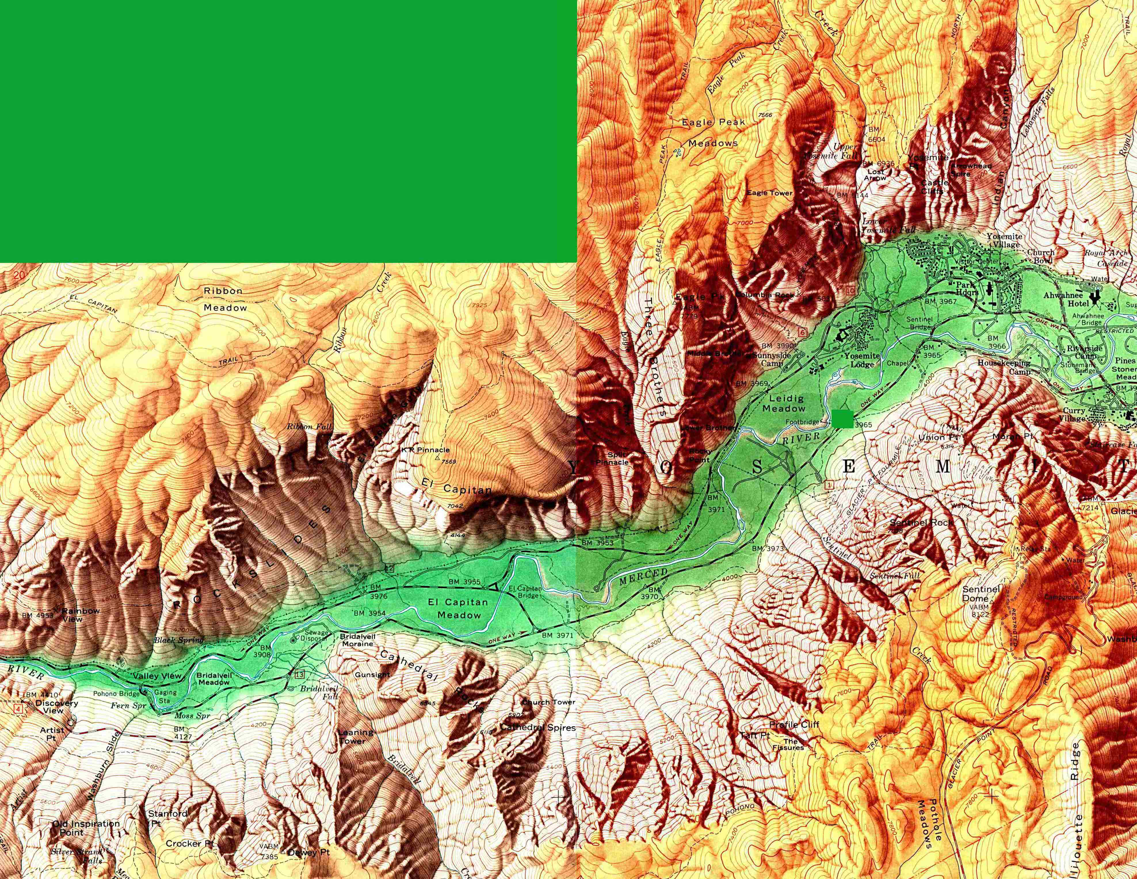 Maps of United States National Parks, Monuments and Historic Sites Yosemite National Park - Yosemite Valley [California] (Shaded Relief Map) 1:24,000, U.S. Geological Survey, 1958 (1MB)