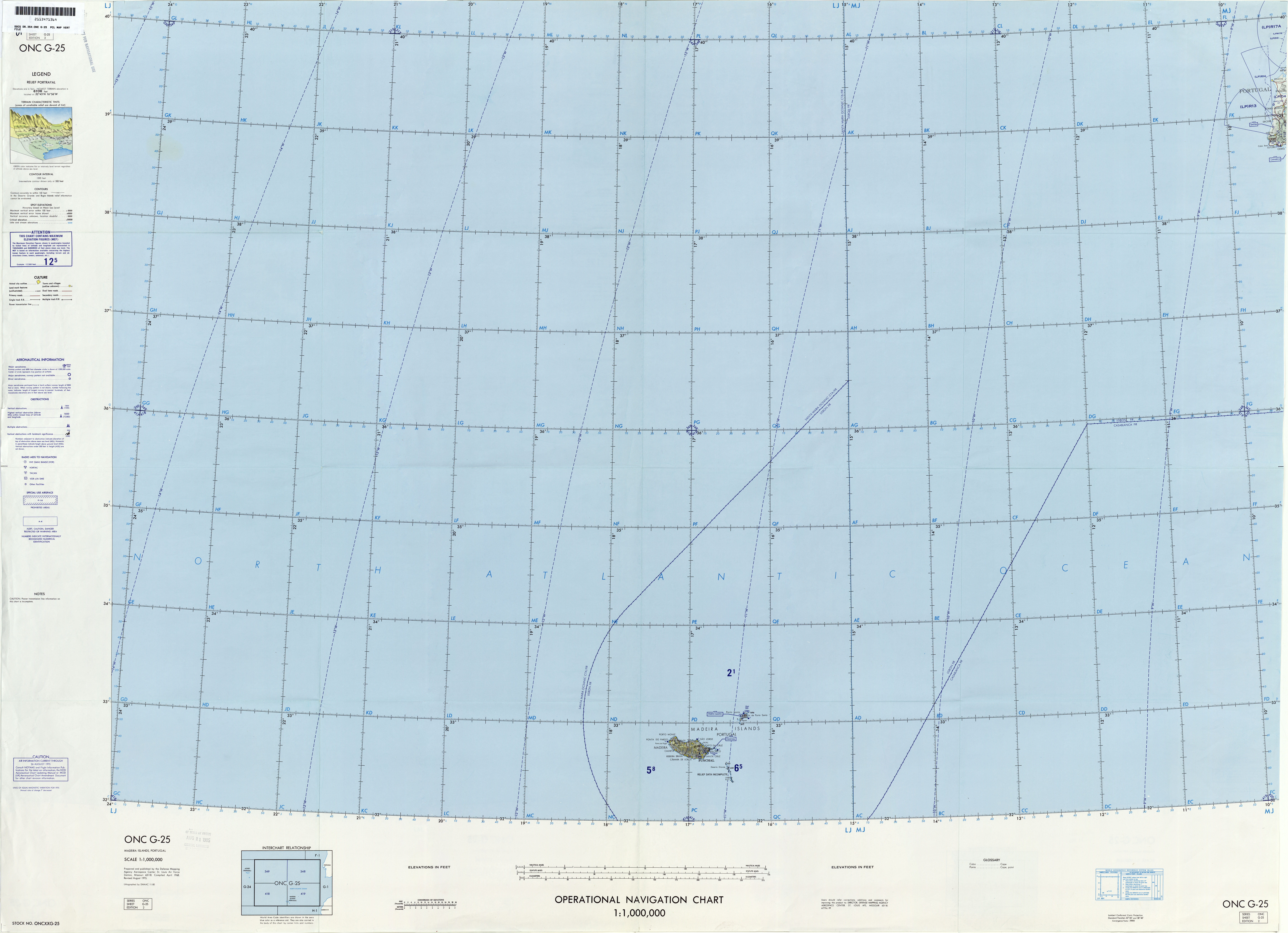 Azores Not For Navigational Use U S Defense Mapping Agency Aeroe Center Compiled 1968 Revised 1989 8 9mb