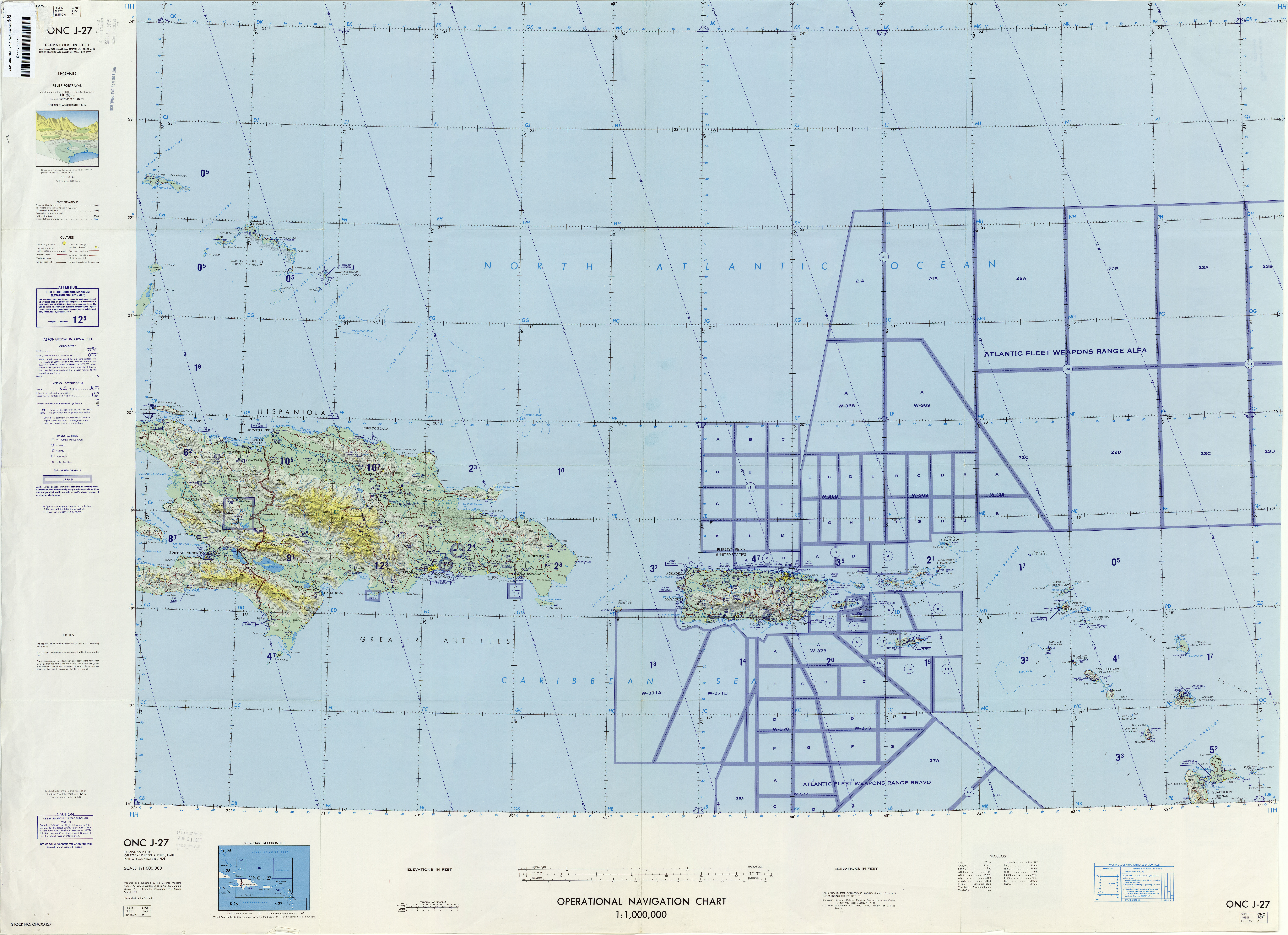 Chart U S Defense Mapping Agency Aeroe Center Revised 1980 Not For Navigational Use 9 5mb This Sheet Includes Puerto Rico