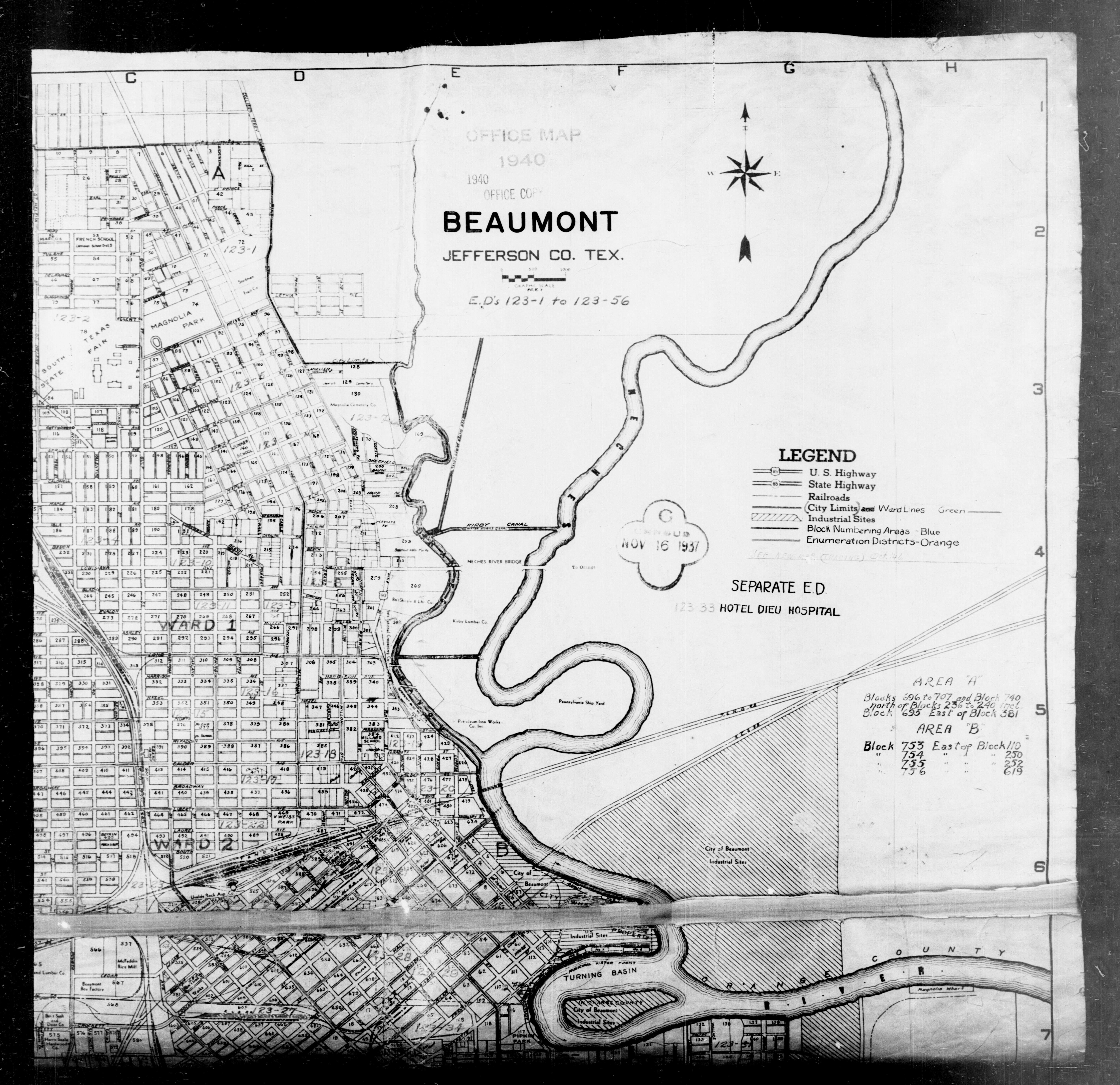 Map Of Beaumont Texas.1940 Census Texas Enumeration District Maps Perry Castaneda Map