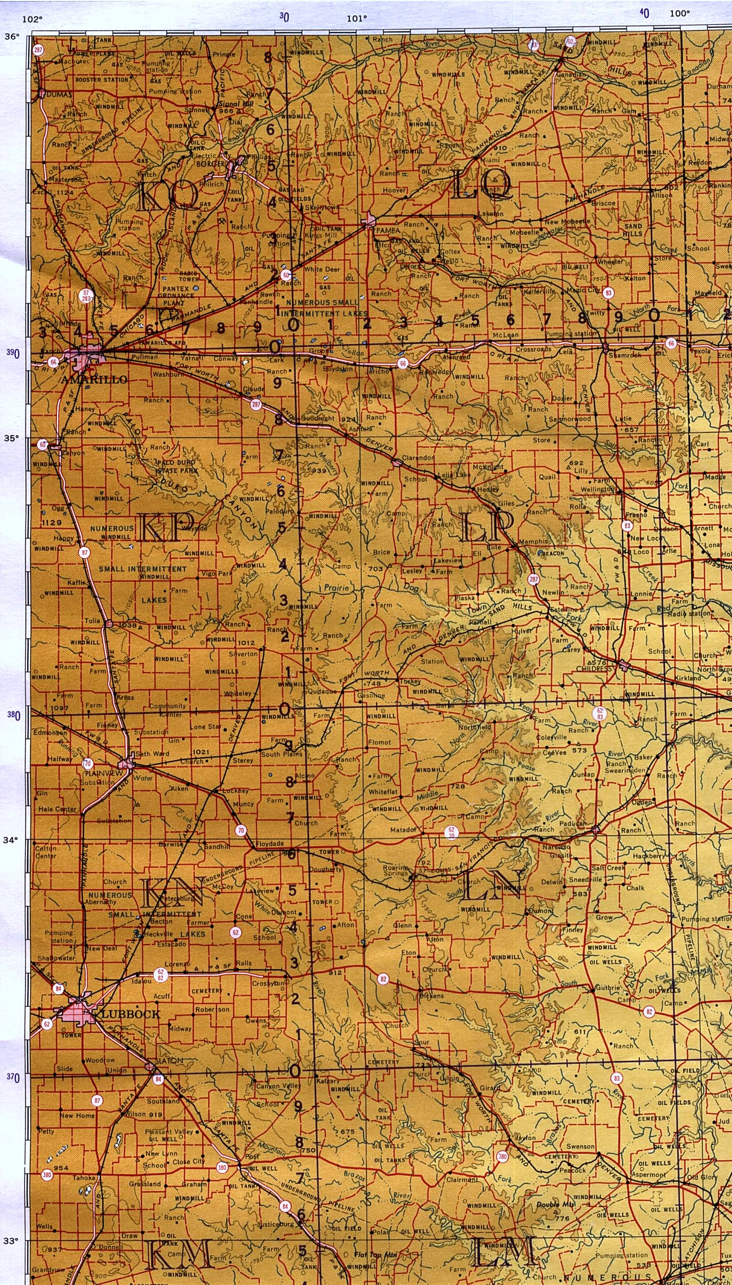 1up Travel Maps Of Texas Texas Panhandle Amarillo Lubbock