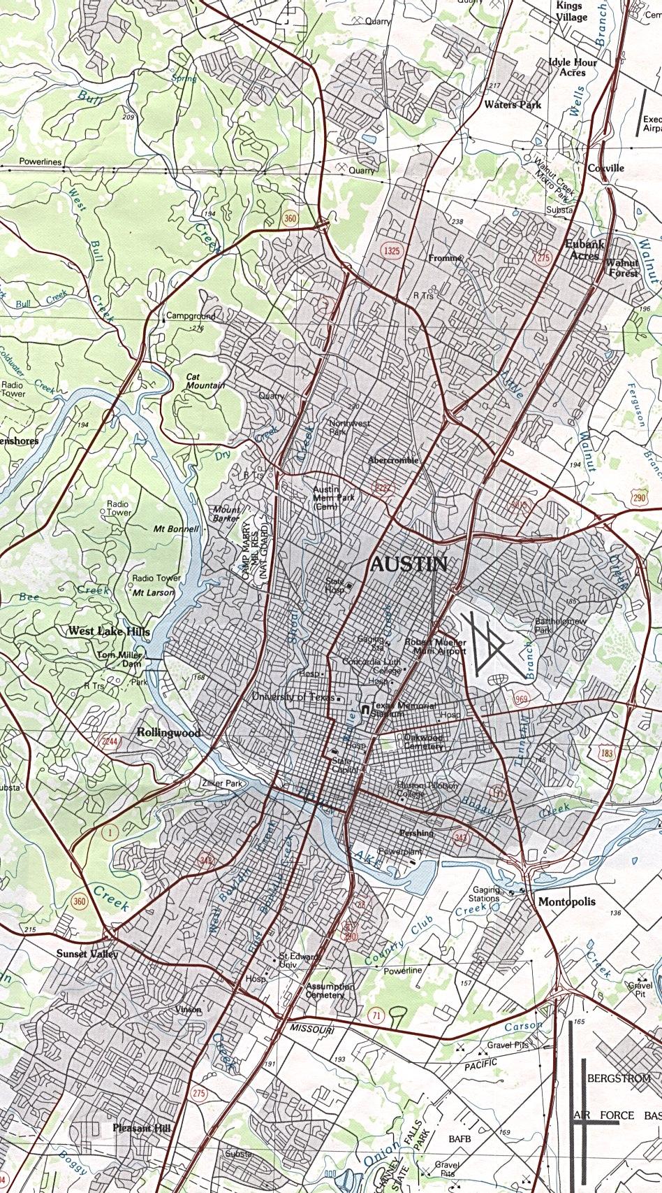 Map To Austin Texas