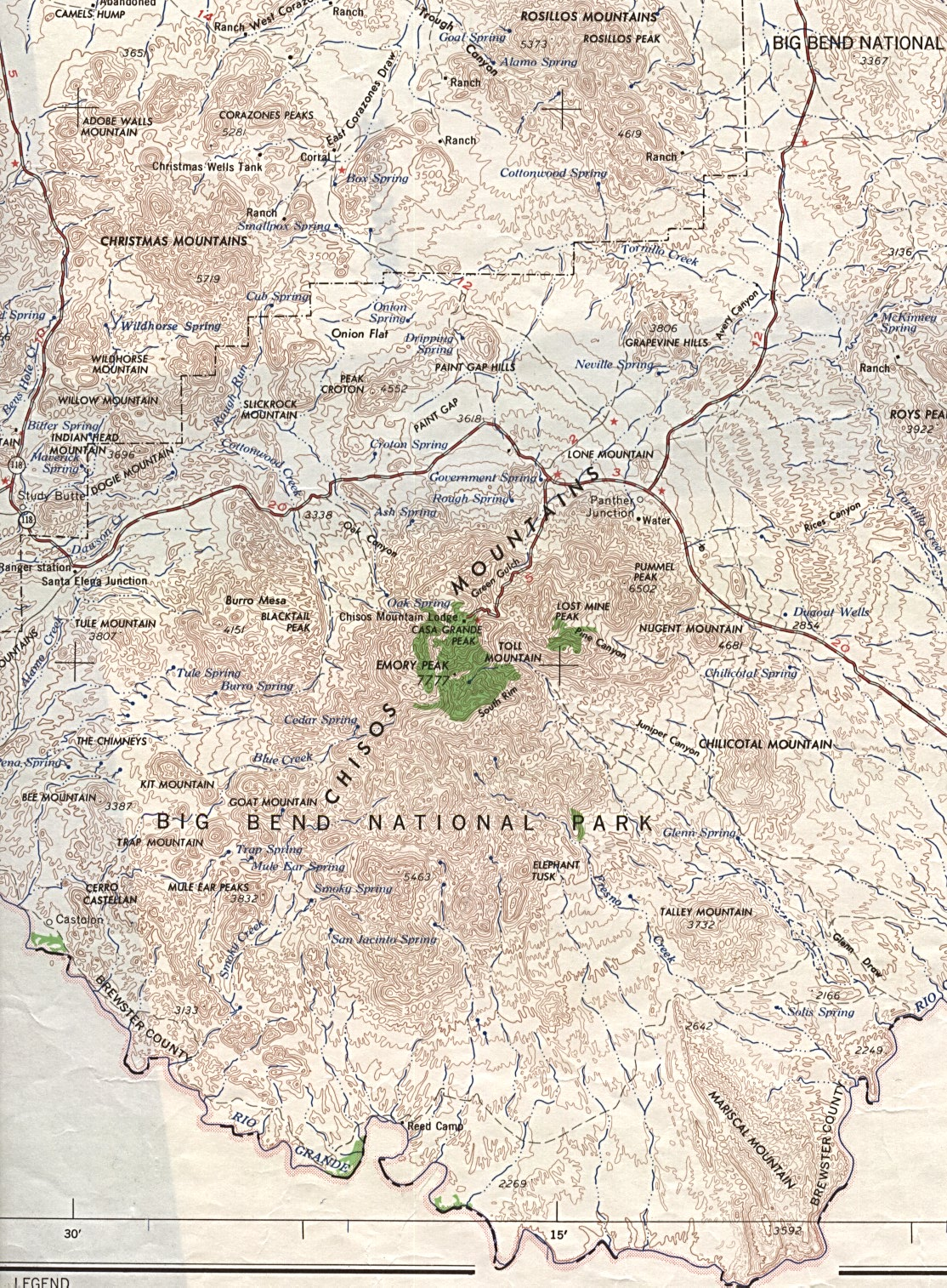 big bend national park topographic map