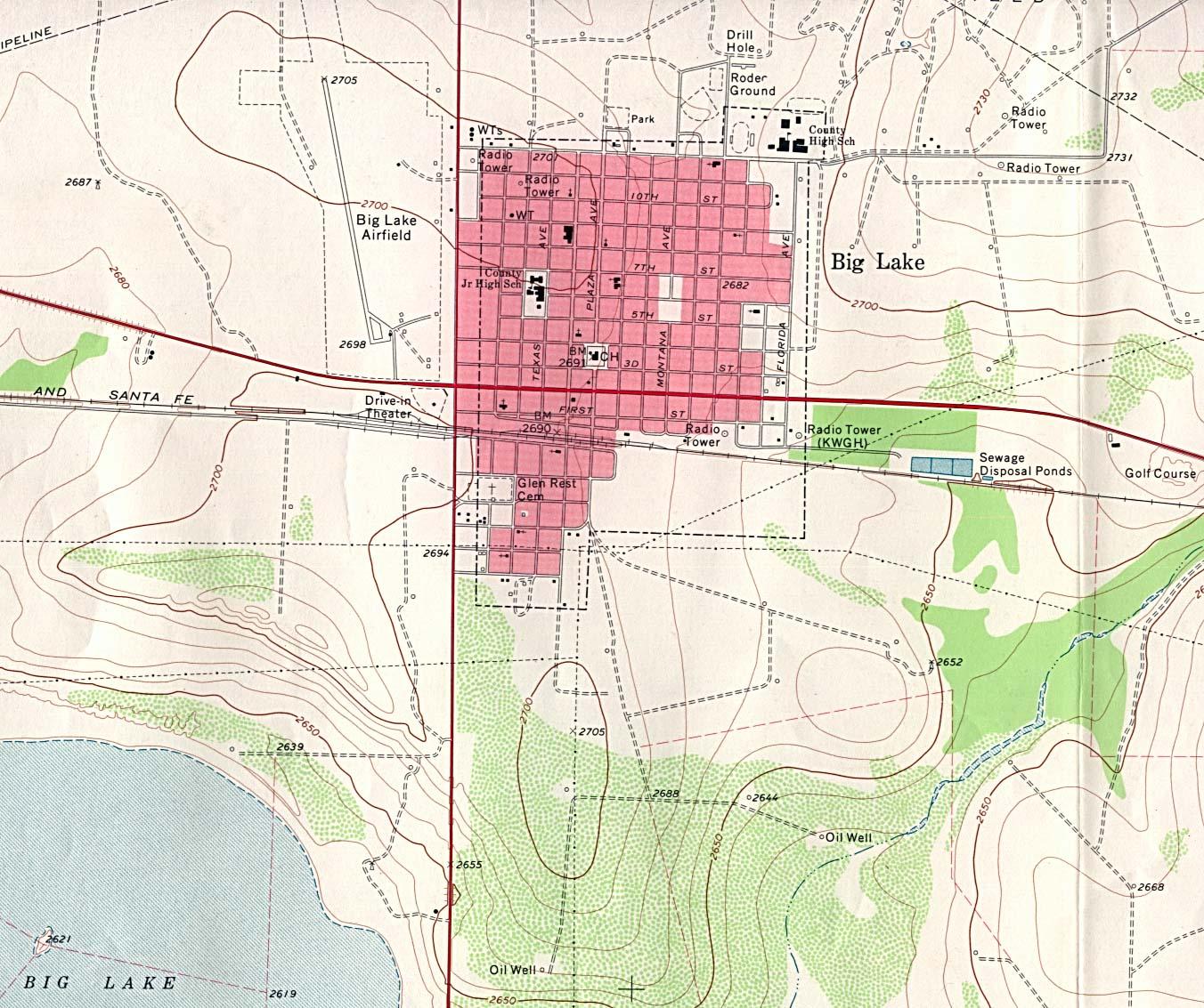 Big Lake - Topographic Map 1 24 000 U S G S  1971  349K   University    Pink Lake Map