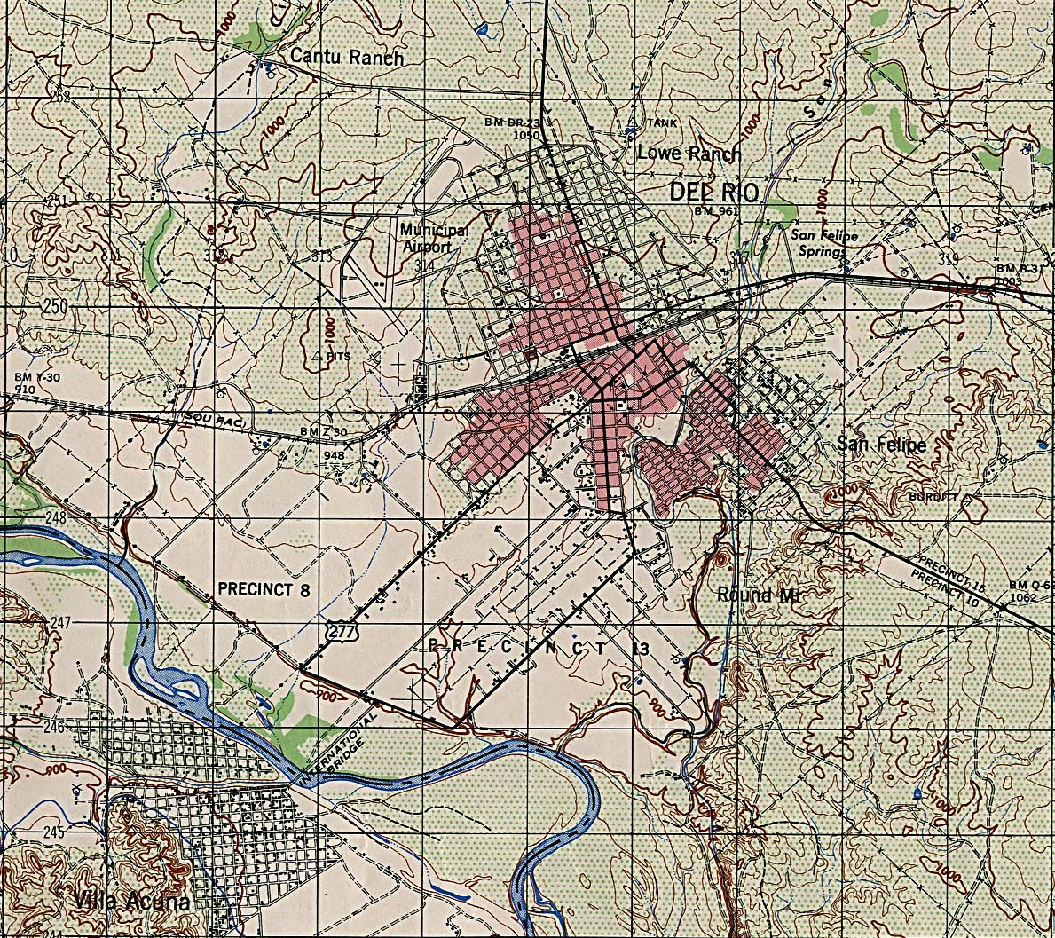 1Up Travel - Maps of Texas Cities.Del Rio [Topographic Map] 1:50,000 ...
