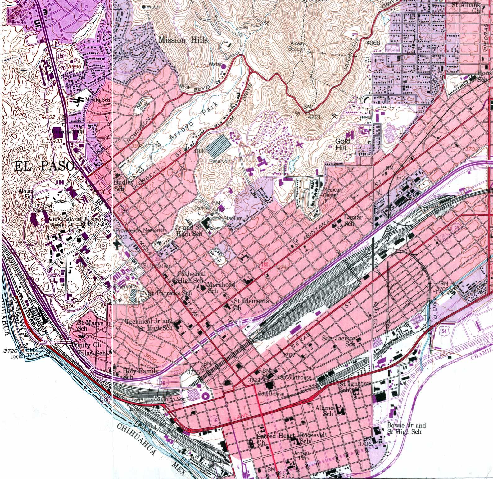 El Paso West Topographic Map