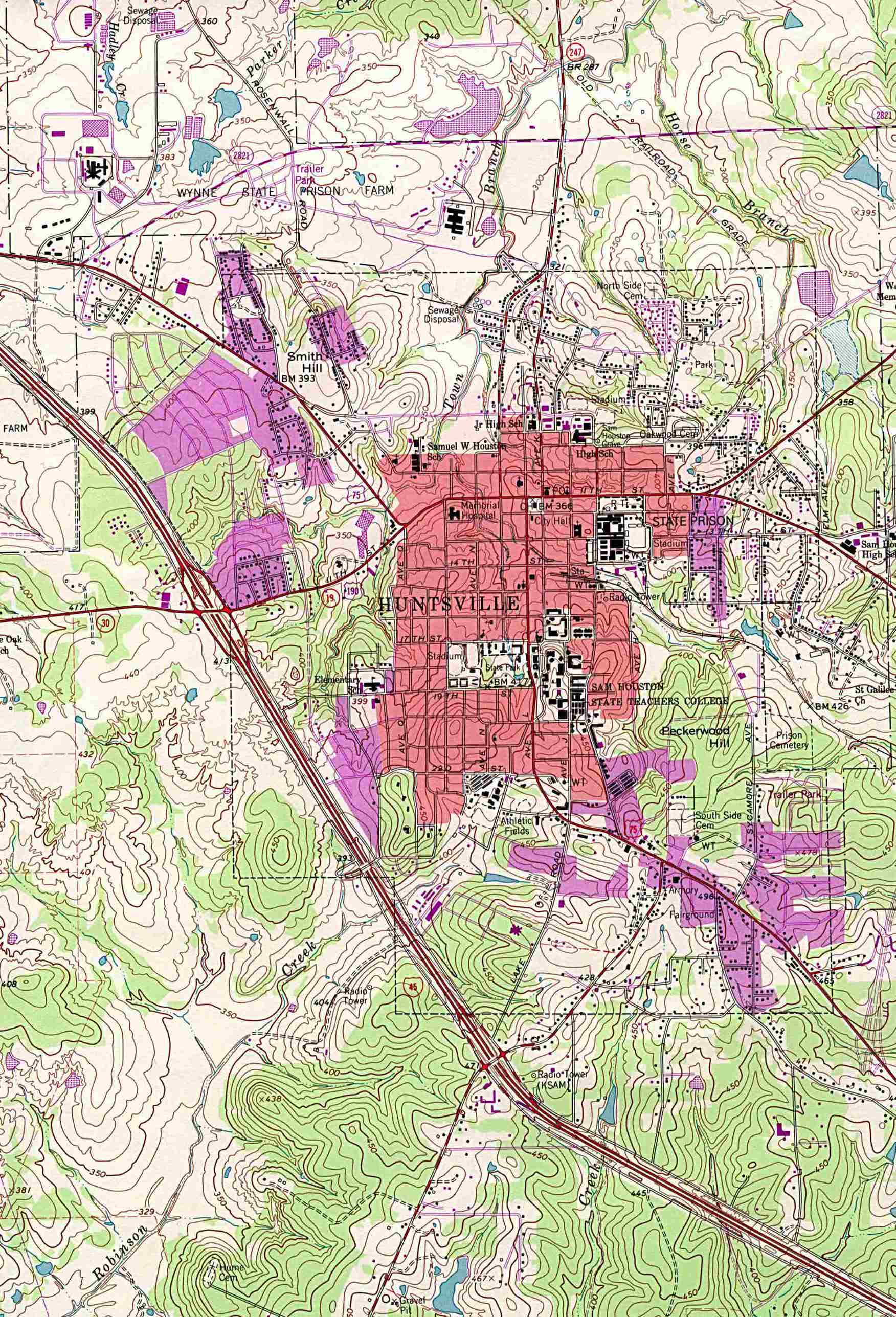 1Up Travel - Maps of Texas Cities.Huntsville [Topographic Map] 1 ...