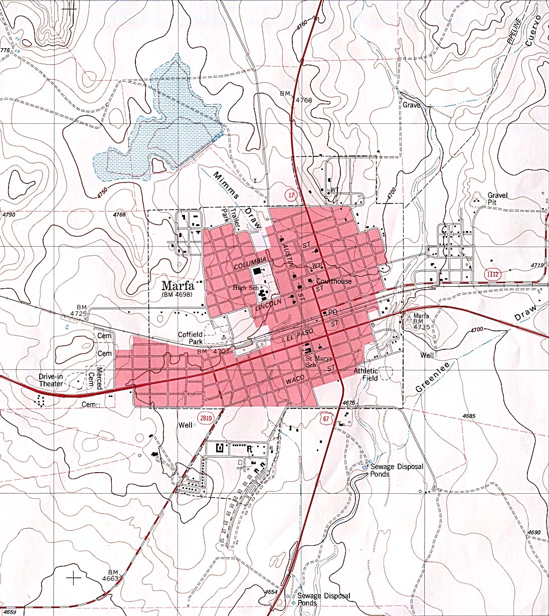 marfa  topographic map . texas city maps  perrycastañeda map collection  ut library online