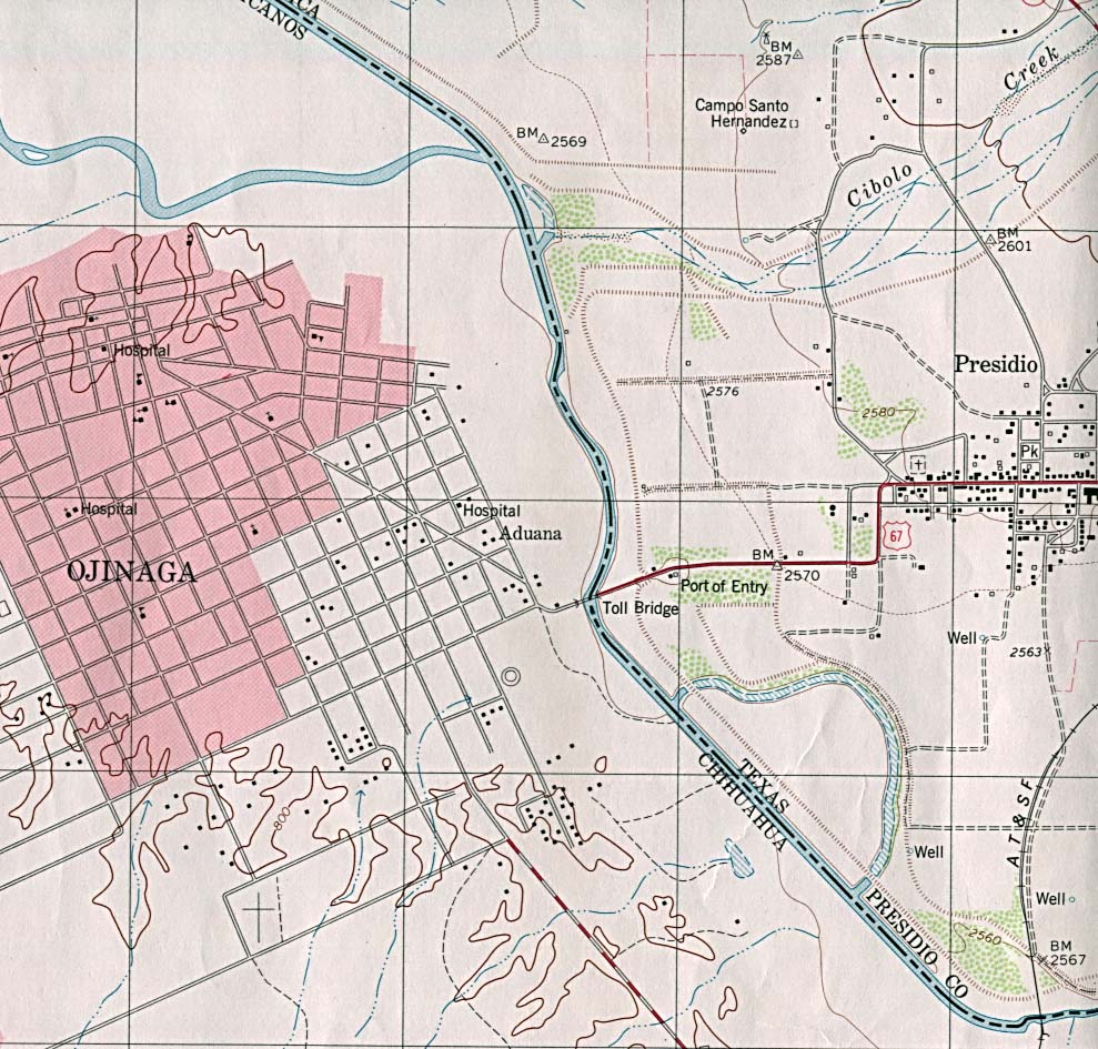 presidio west  topographic map . texas city maps  perrycastañeda map collection  ut library online